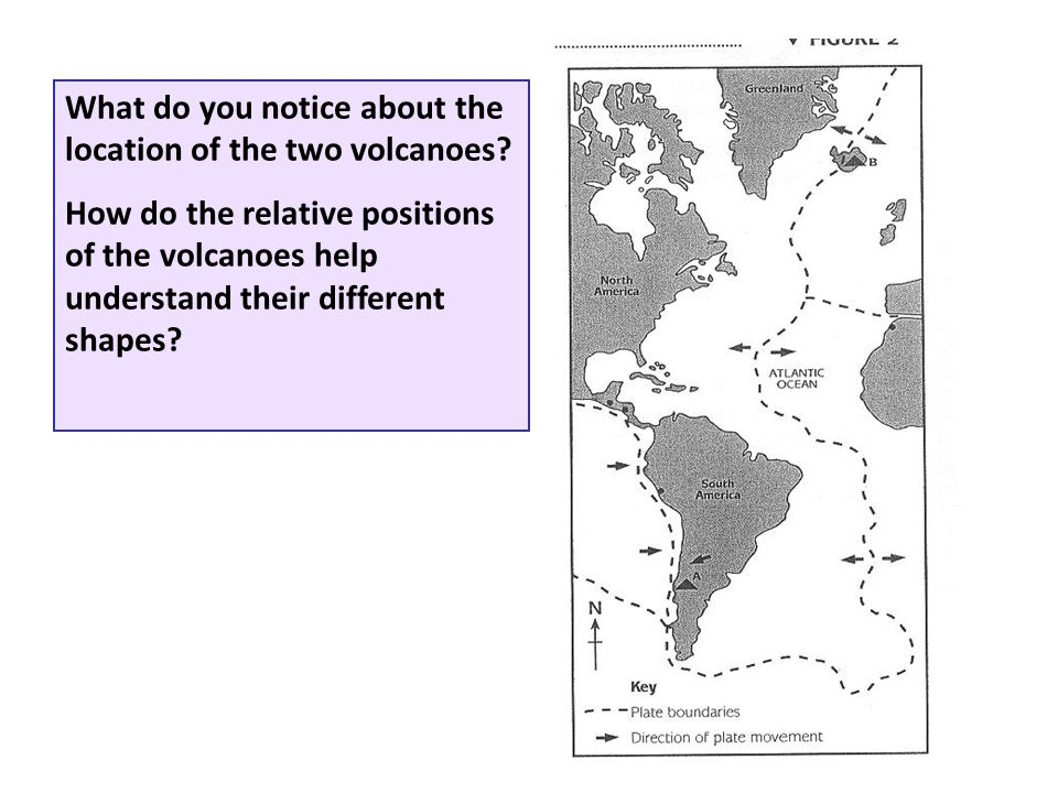 What do you notice about the location of the two volcanoes