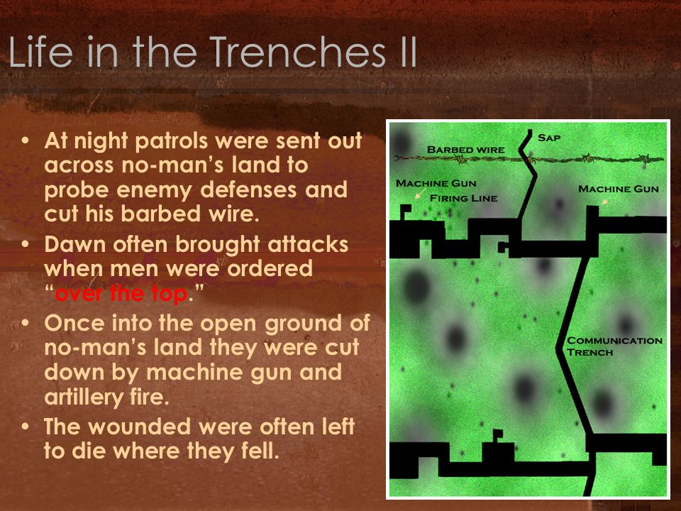 Life in the Trenches II At night patrols were sent out across no-man's land to probe enemy defenses and cut his barbed wire.