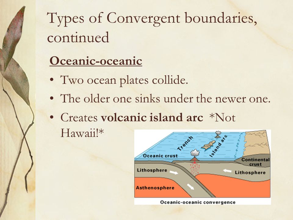 Types of Convergent boundaries, continued