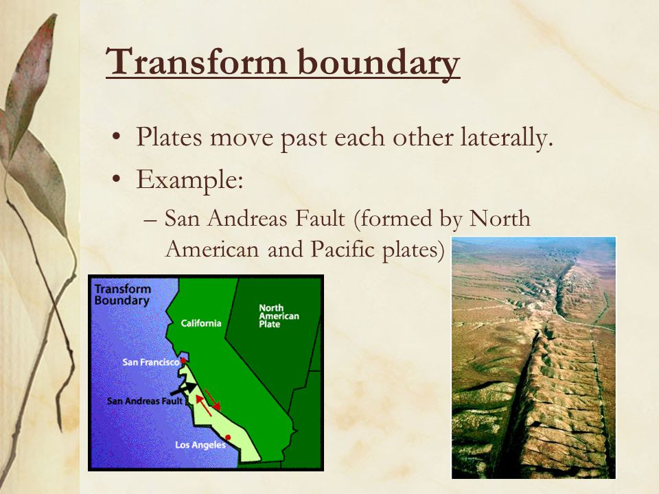 Transform boundary Plates move past each other laterally. Example: