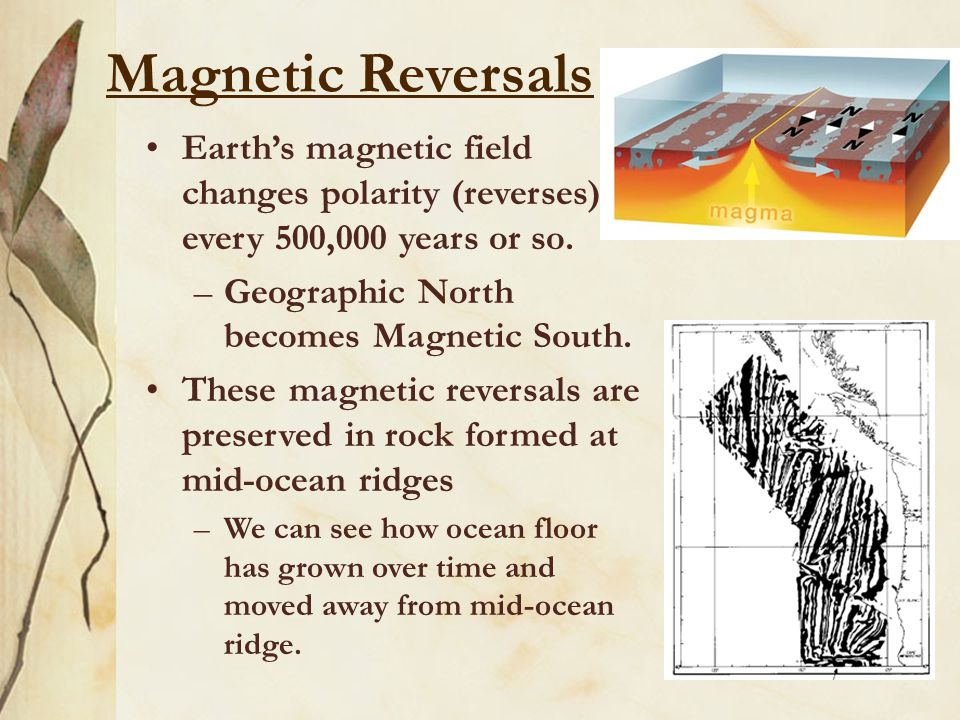 Magnetic Reversals Earth's magnetic field changes polarity (reverses) every 500,000 years or so. Geographic North becomes Magnetic South.