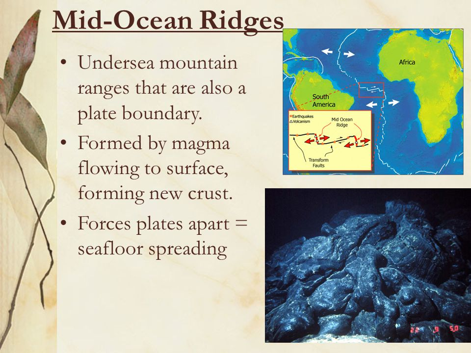 Mid-Ocean Ridges Undersea mountain ranges that are also a plate boundary. Formed by magma flowing to surface, forming new crust.