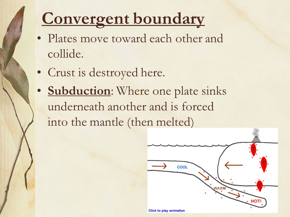 Convergent boundary Plates move toward each other and collide.