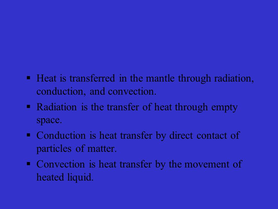 Heat is transferred in the mantle through radiation, conduction, and convection.