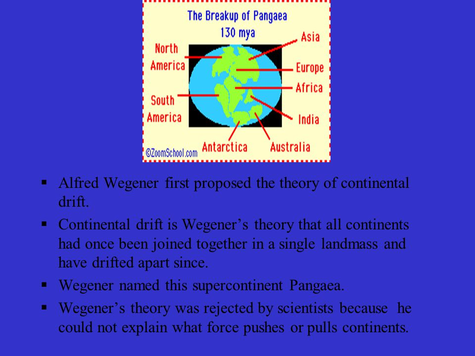 Alfred Wegener first proposed the theory of continental drift.