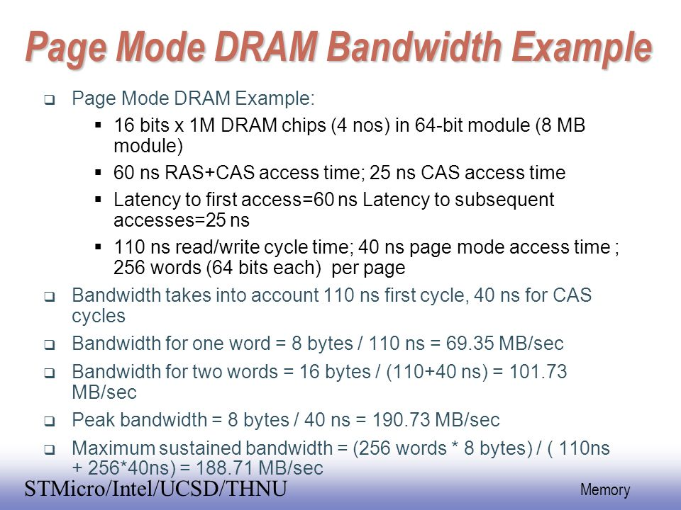 Page Mode DRAM Bandwidth Example
