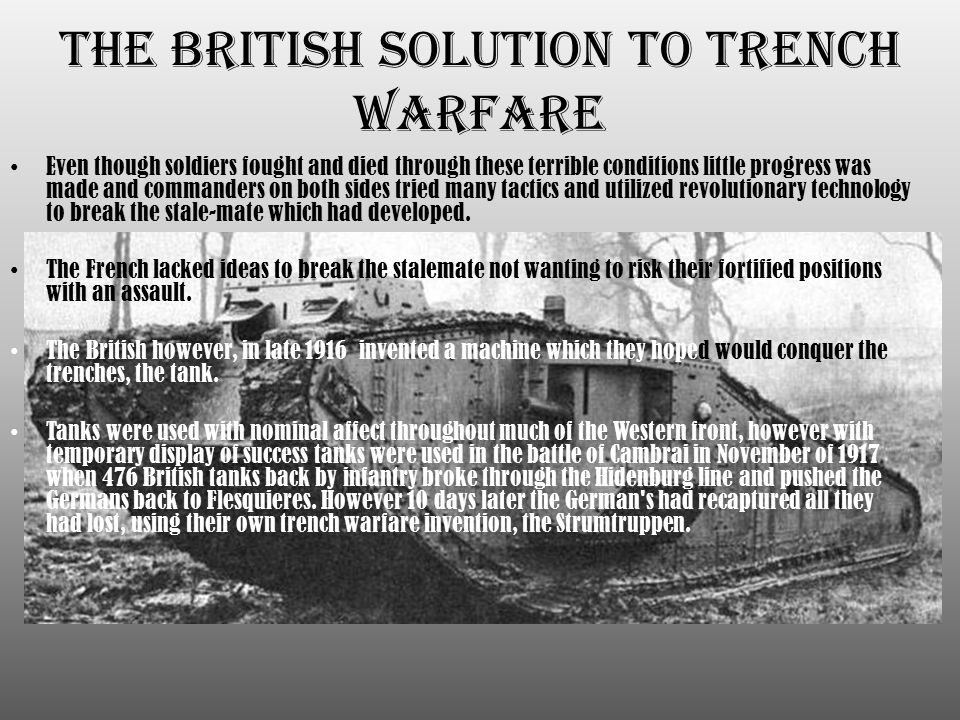 The British Solution to Trench Warfare