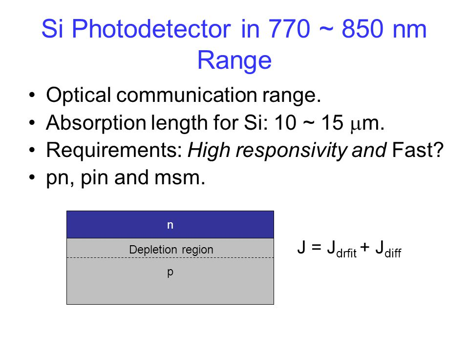 Si Photodetector in 770 ~ 850 nm Range