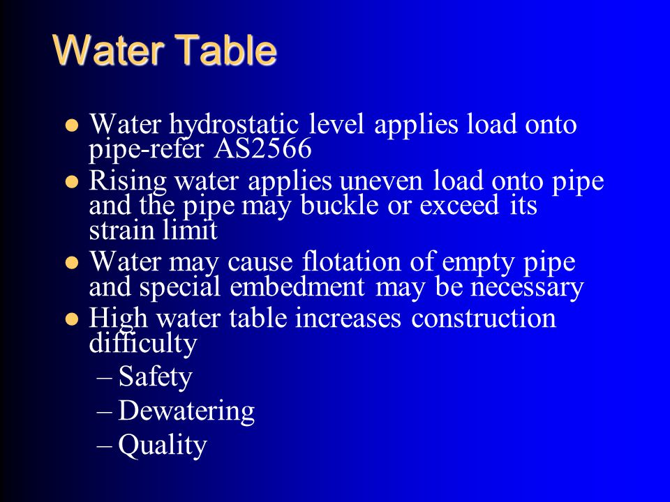 Water Table Water hydrostatic level applies load onto pipe-refer AS2566.