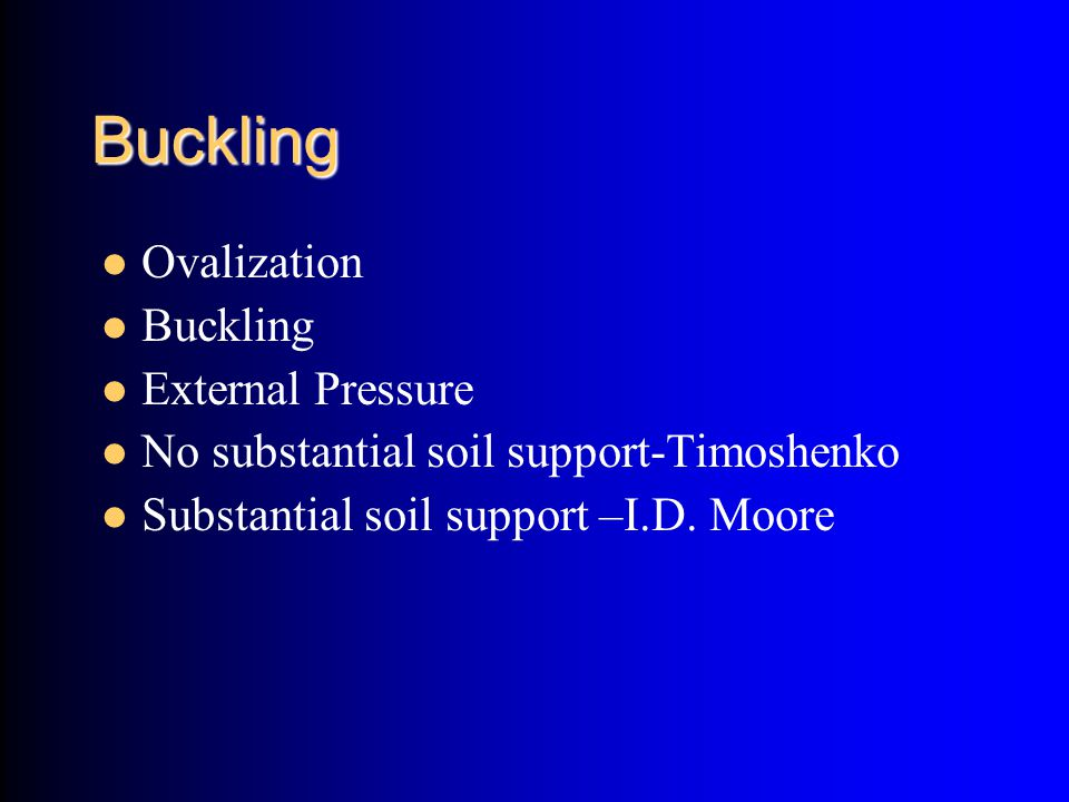 Buckling Ovalization Buckling External Pressure