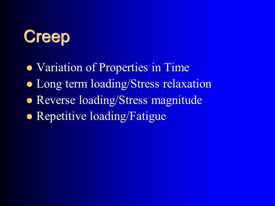 Creep Variation of Properties in Time