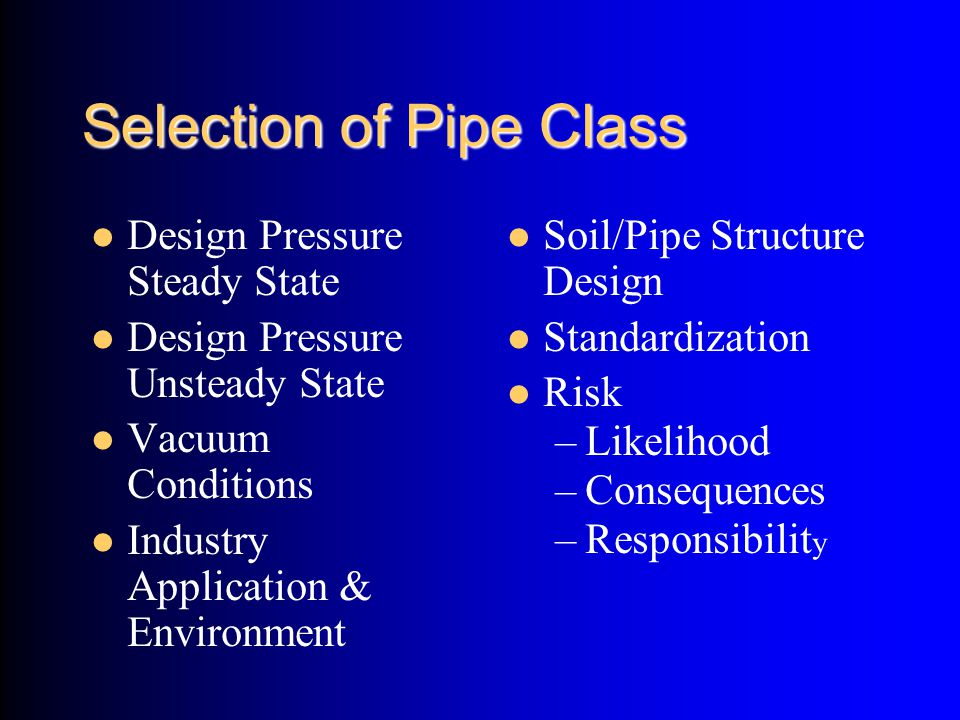 Selection of Pipe Class