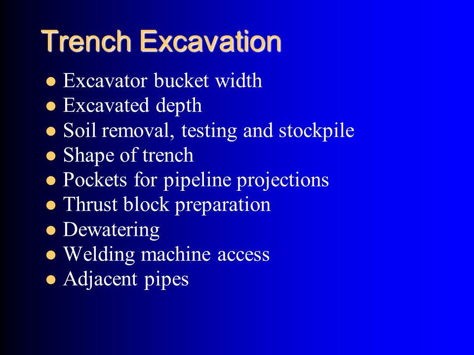 Trench Excavation Excavator bucket width Excavated depth