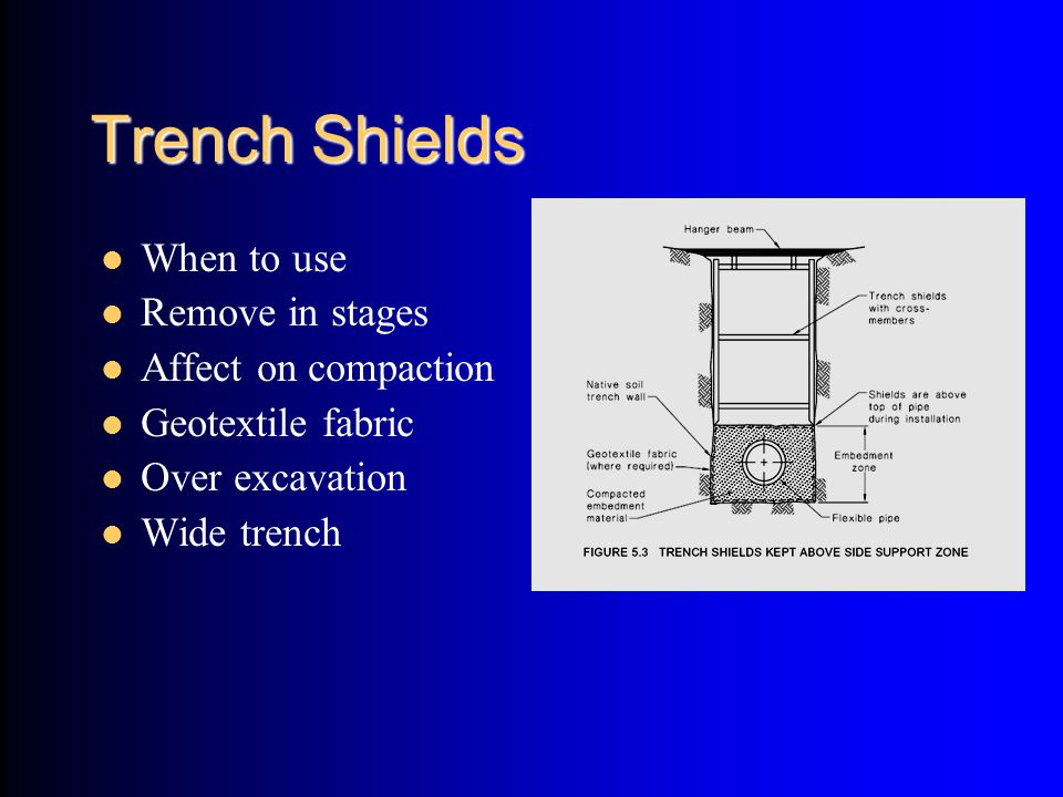 Trench Shields When to use Remove in stages Affect on compaction