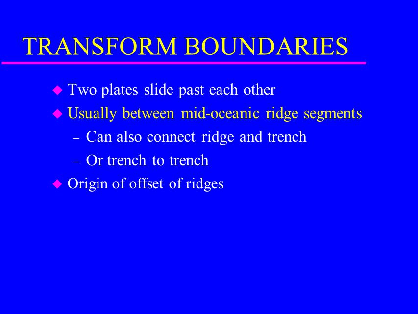 TRANSFORM BOUNDARIES Two plates slide past each other