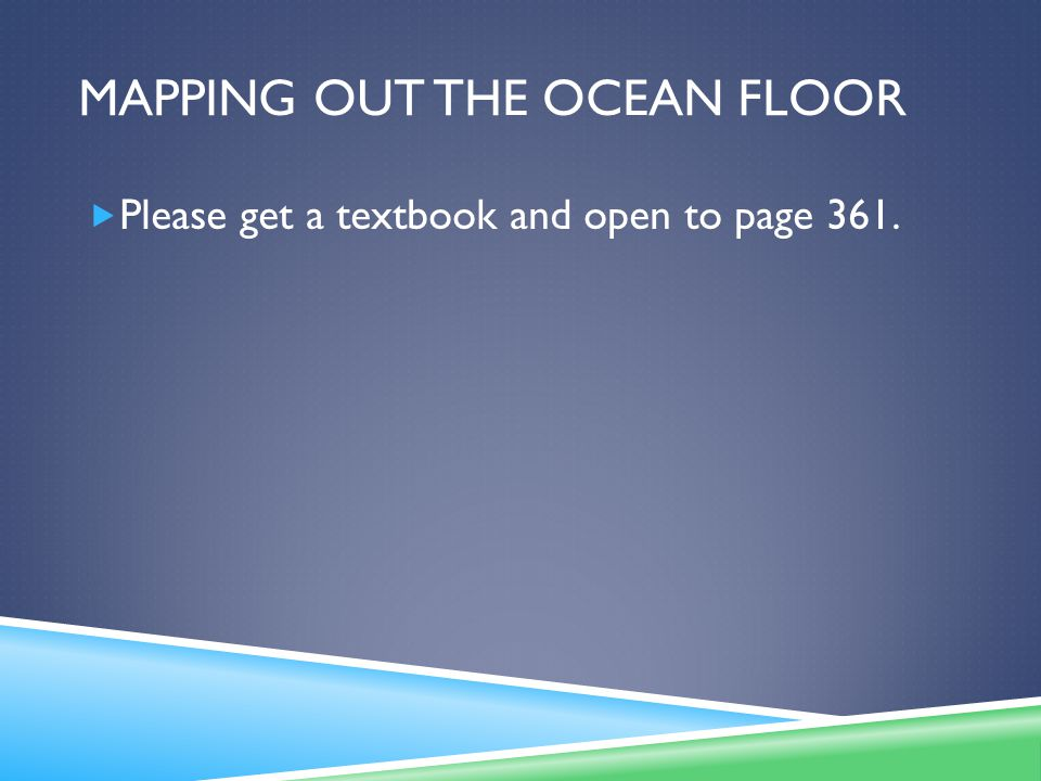 Mapping out the ocean floor