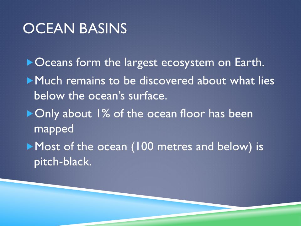 Ocean basins Oceans form the largest ecosystem on Earth.