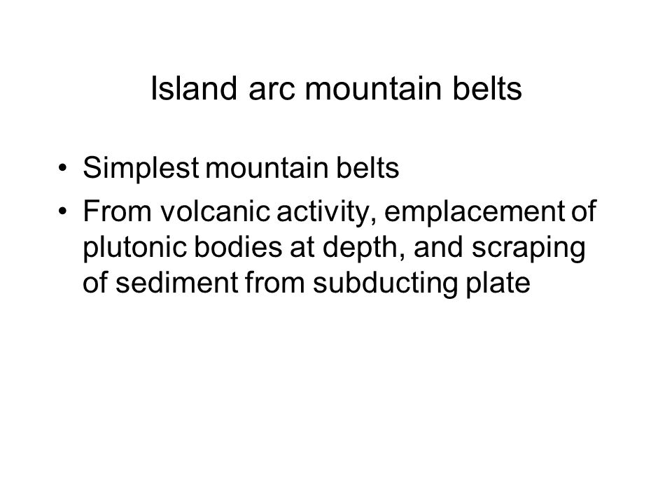 Island arc mountain belts