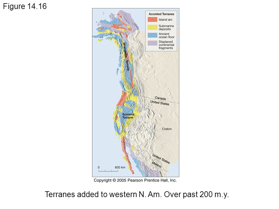 Figure 14.16 Terranes added to western N. Am. Over past 200 m.y.