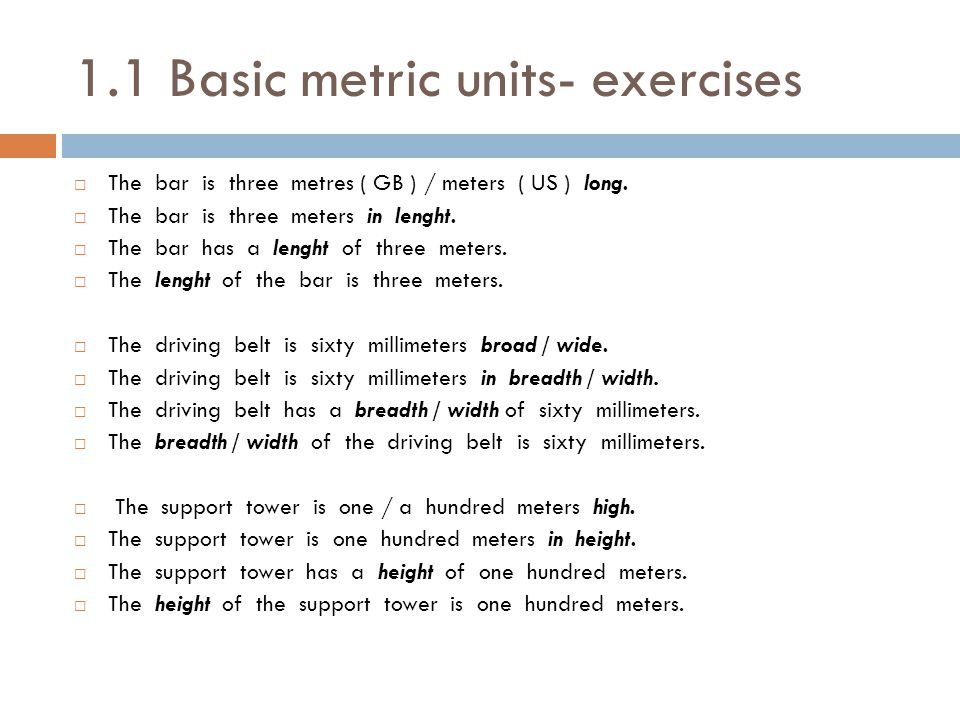 1.1 Basic metric units- exercises