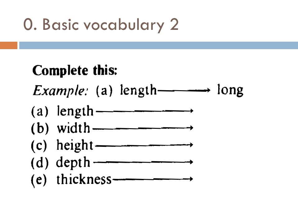 0. Basic vocabulary 2