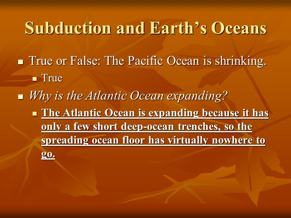 Subduction and Earth's Oceans
