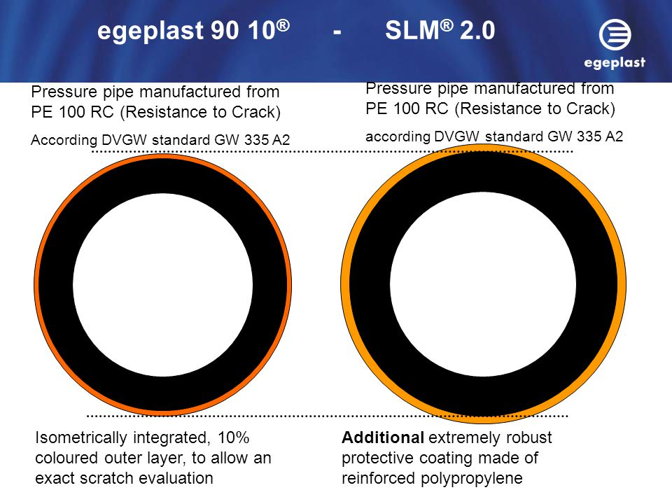 egeplast 90 10® - SLM® 2.0 Pressure pipe manufactured from PE 100 RC (Resistance to Crack)