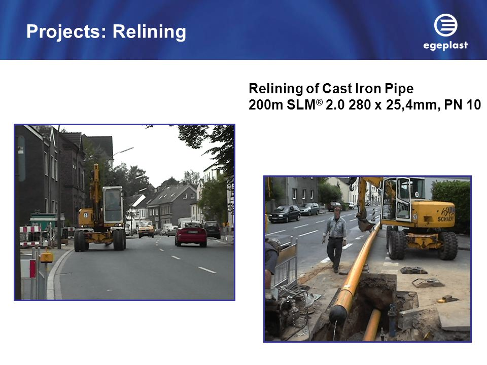 Projects: Relining Relining of Cast Iron Pipe 200m SLM® 2.0 280 x 25,4mm, PN 10