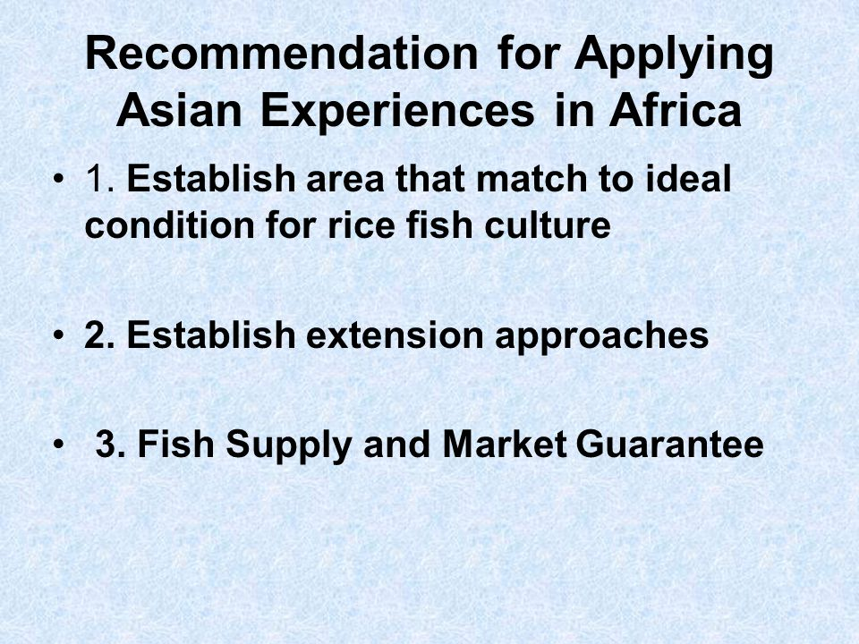 Recommendation for Applying Asian Experiences in Africa