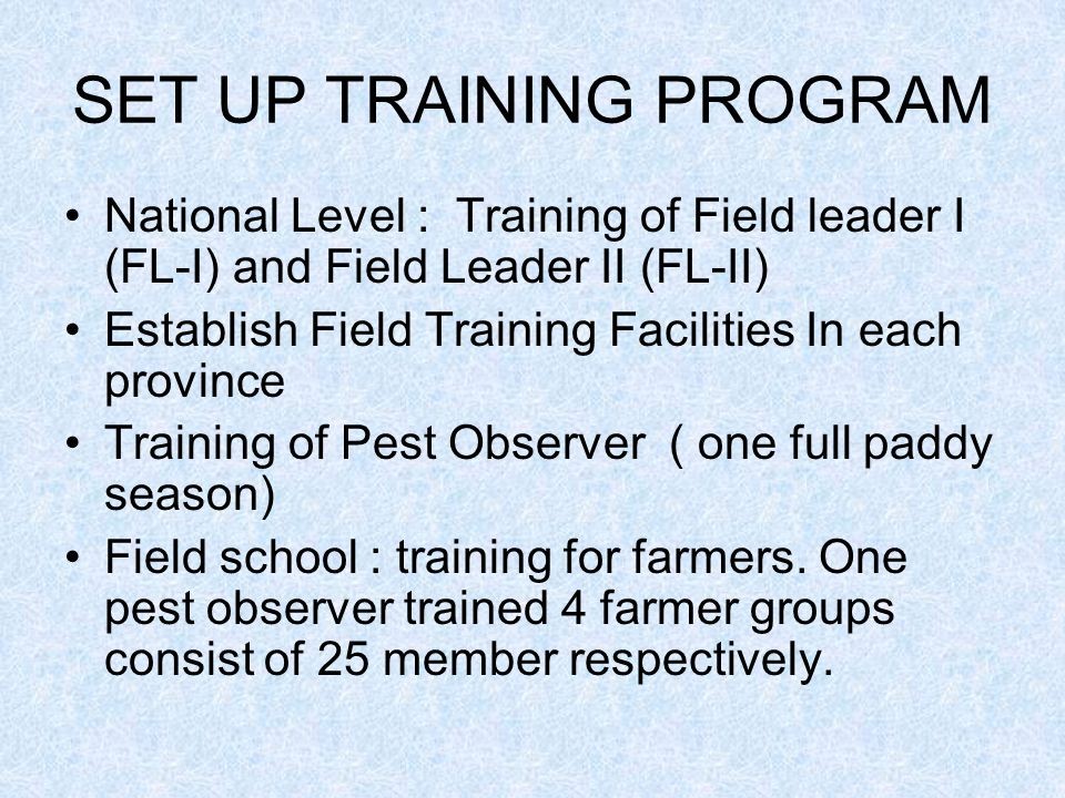 SET UP TRAINING PROGRAM