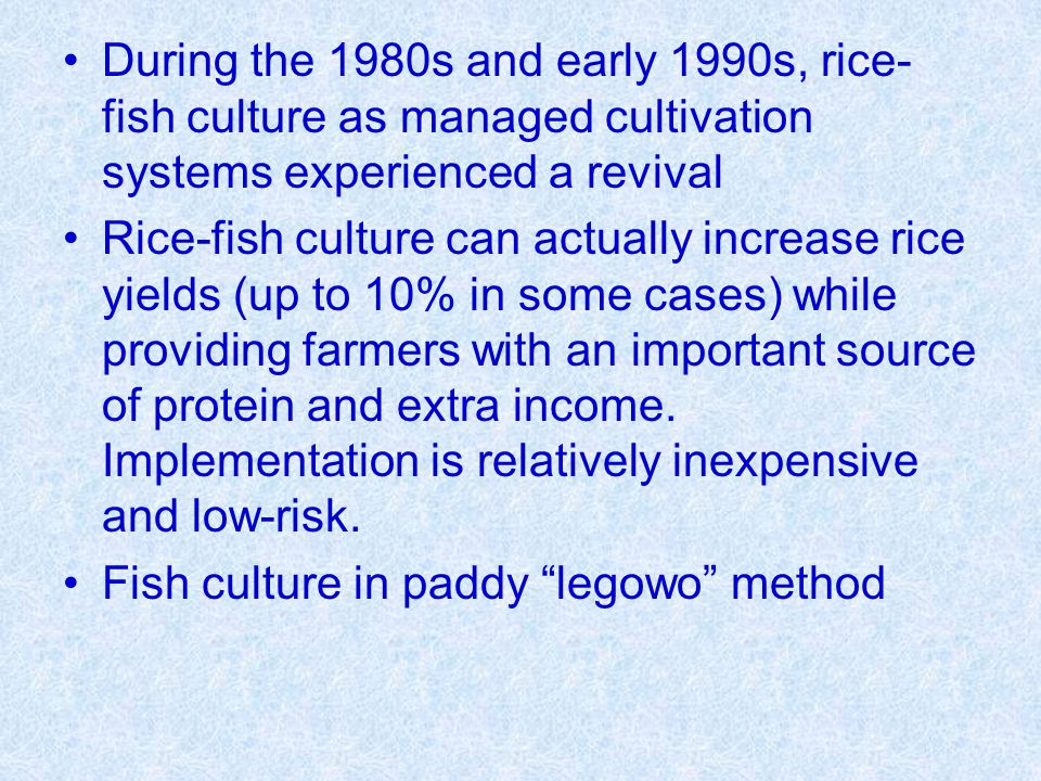 During the 1980s and early 1990s, rice-fish culture as managed cultivation systems experienced a revival