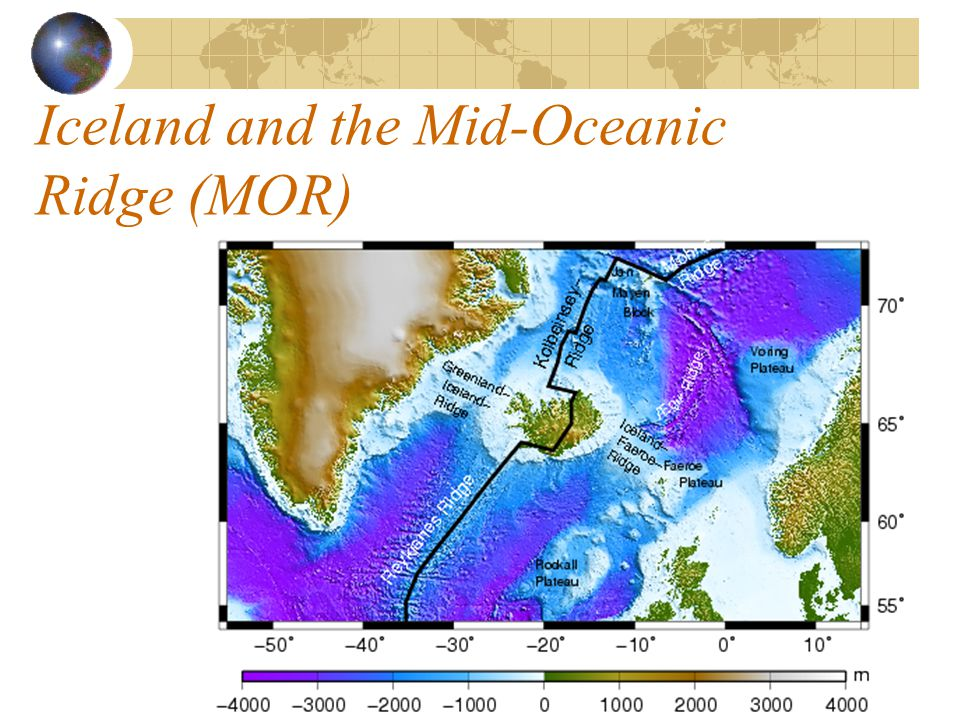 Iceland and the Mid-Oceanic Ridge (MOR)