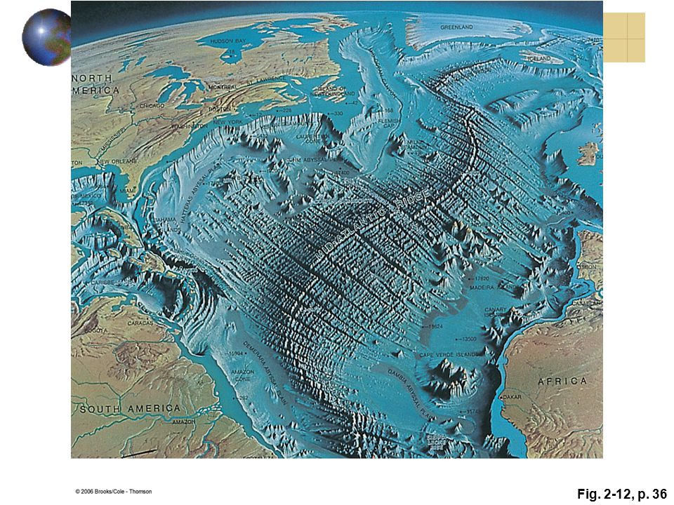 Figure 2.12: Artist's view of what the Atlantic Ocean basin would look like without water. The major feature is the Mid-Atlantic Ridge.
