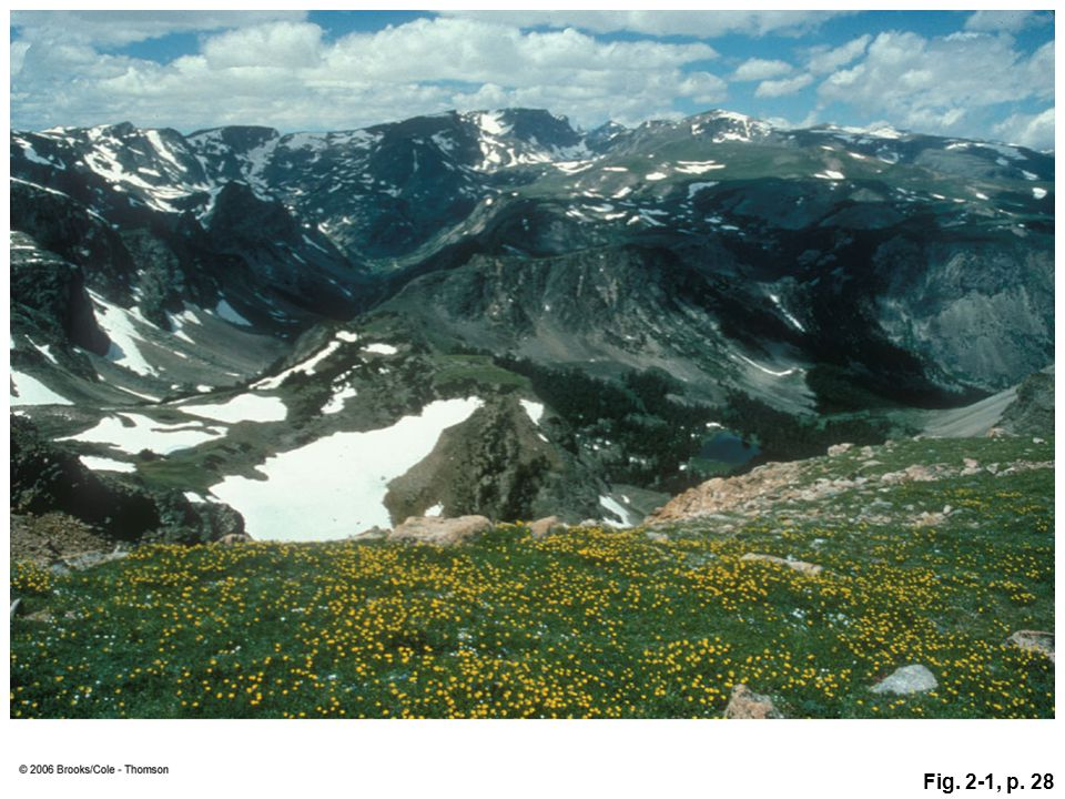 Figure 2.1: The Beartooth Mountains in Montana show how geologic forces have produced dynamic change through time. Tectonic uplift helped to form the rugged mountains, but the soil and plants in the foreground show that the rocks of the mountains are being broken down by other forces that could level these mountains over time.