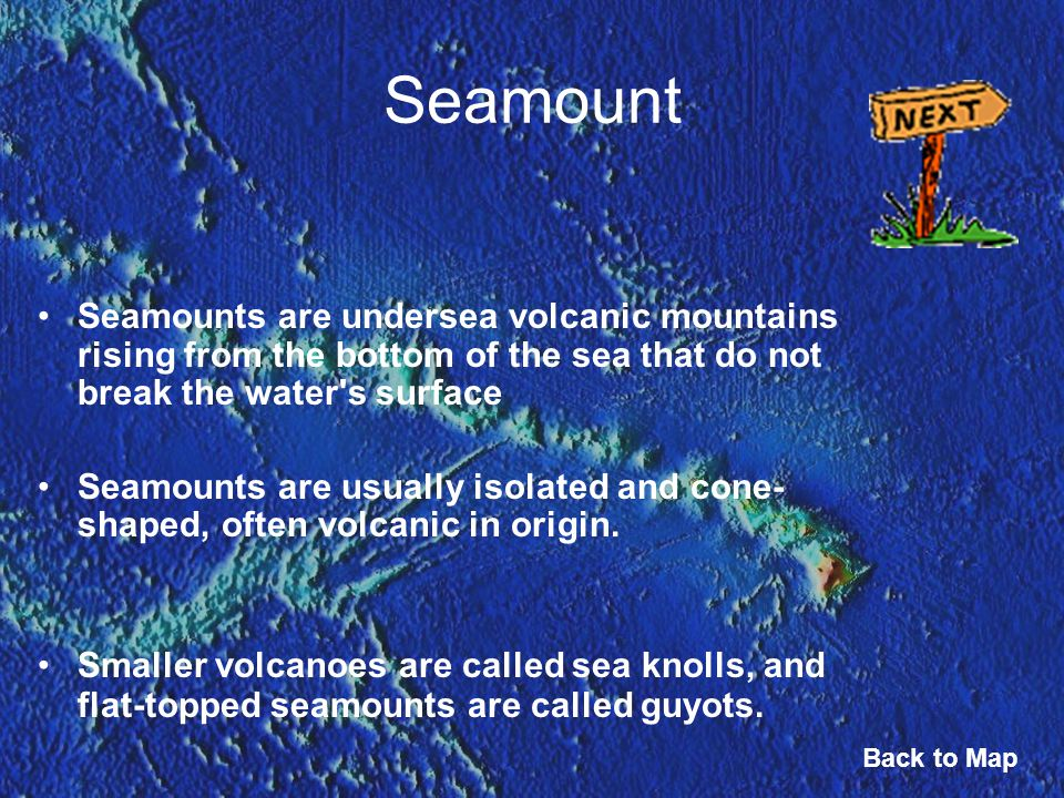 Seamount Seamounts are undersea volcanic mountains rising from the bottom of the sea that do not break the water s surface.
