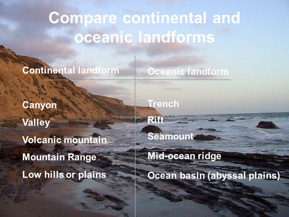 Compare continental and oceanic landforms
