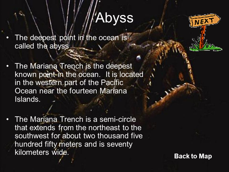 Abyss The deepest point in the ocean is called the abyss