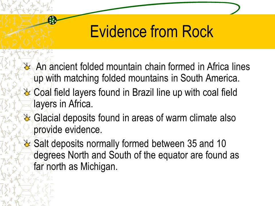 Evidence from Rock An ancient folded mountain chain formed in Africa lines up with matching folded mountains in South America.