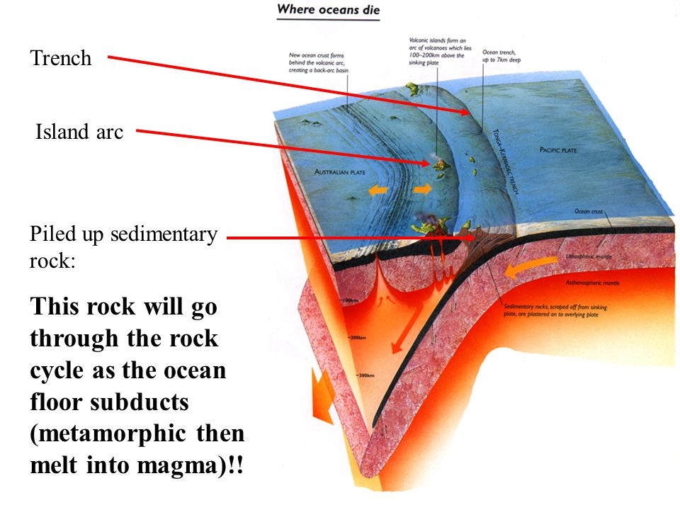 Trench Island arc. Piled up sedimentary rock: