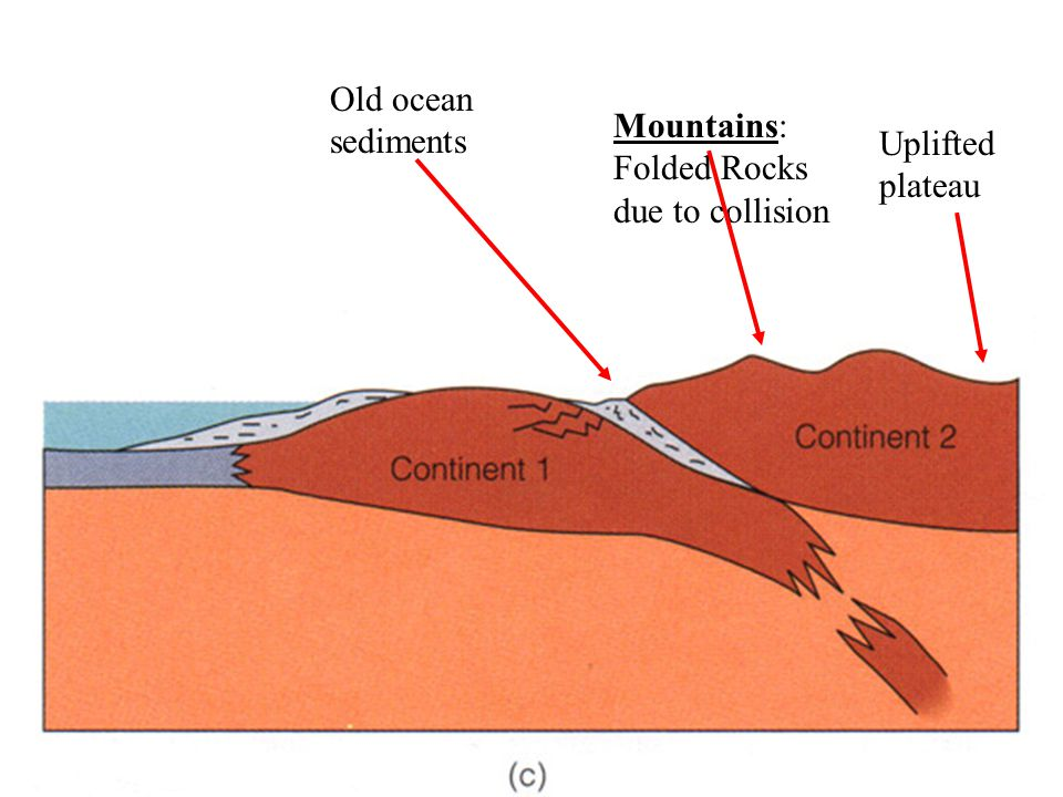 Old ocean sediments Mountains: Folded Rocks due to collision Uplifted plateau
