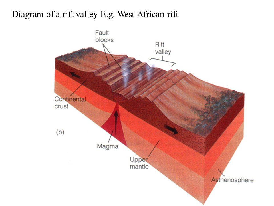 Diagram of a rift valley E.g. West African rift