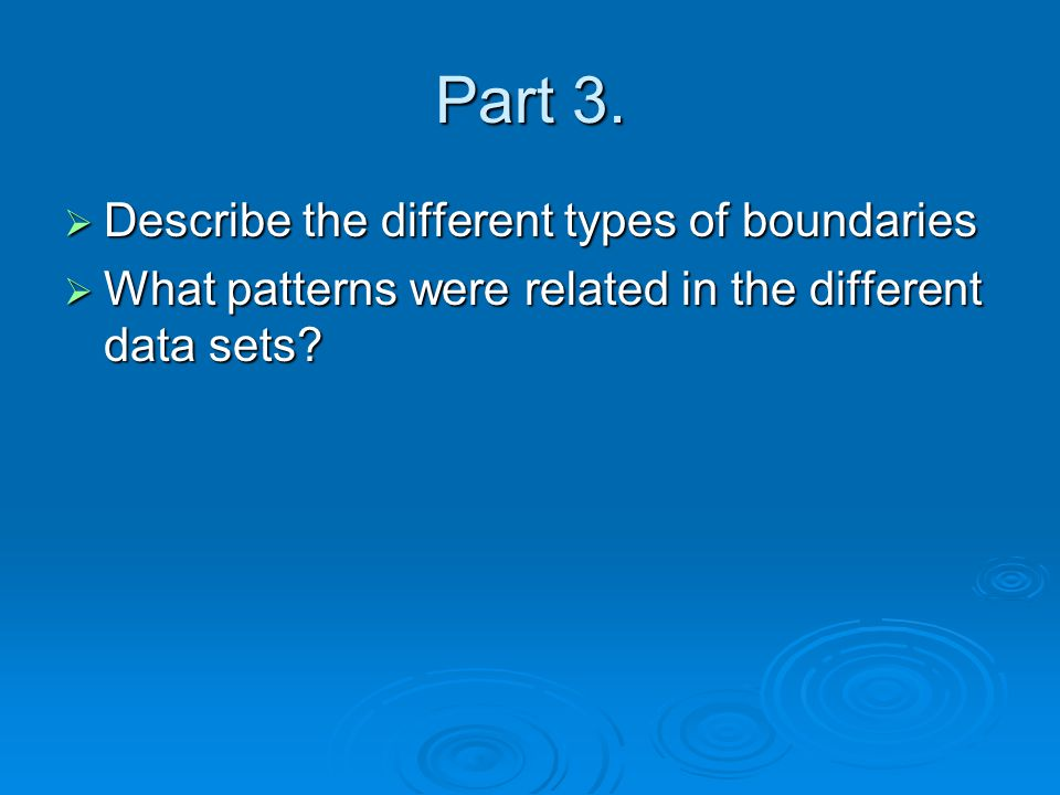 Part 3. Describe the different types of boundaries