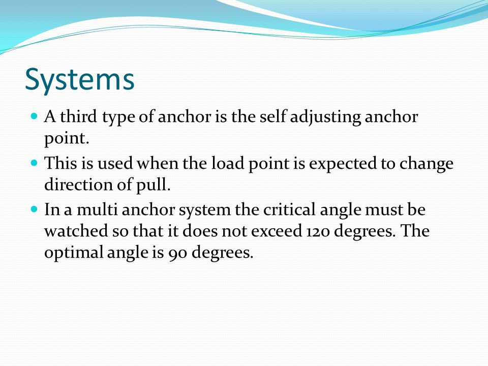 Systems A third type of anchor is the self adjusting anchor point.