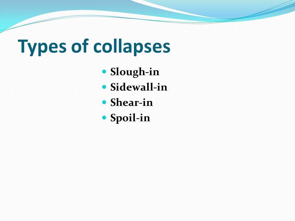 Types of collapses Slough-in Sidewall-in Shear-in Spoil-in