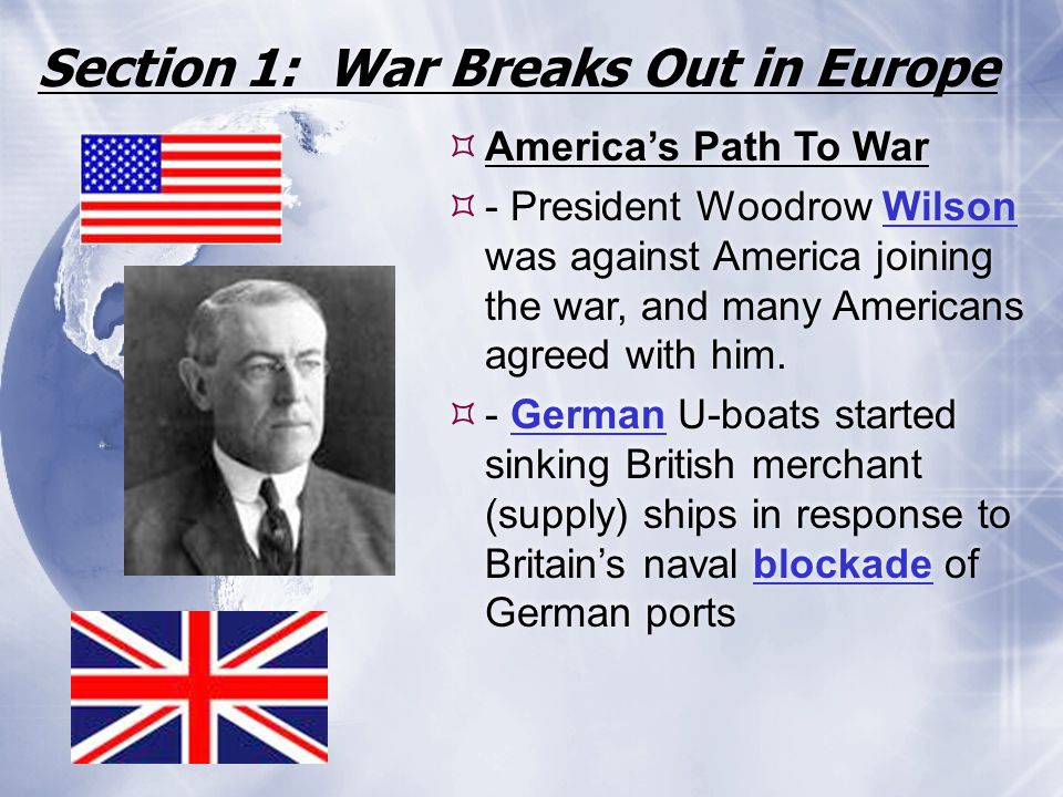 Section 1: War Breaks Out in Europe