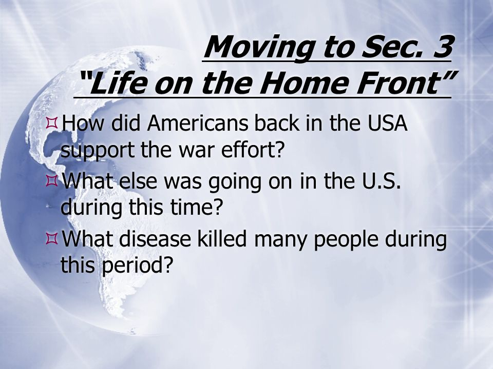 Moving to Sec. 3 Life on the Home Front