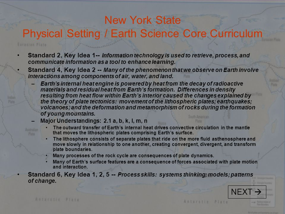 New York State Physical Setting / Earth Science Core Curriculum