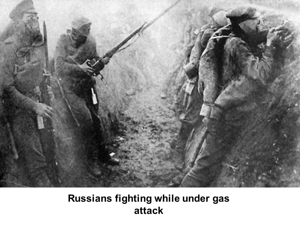 Russians fighting while under gas attack