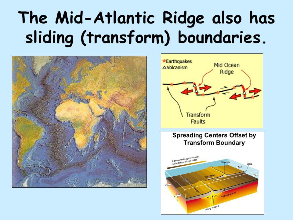 The Mid-Atlantic Ridge also has sliding (transform) boundaries.