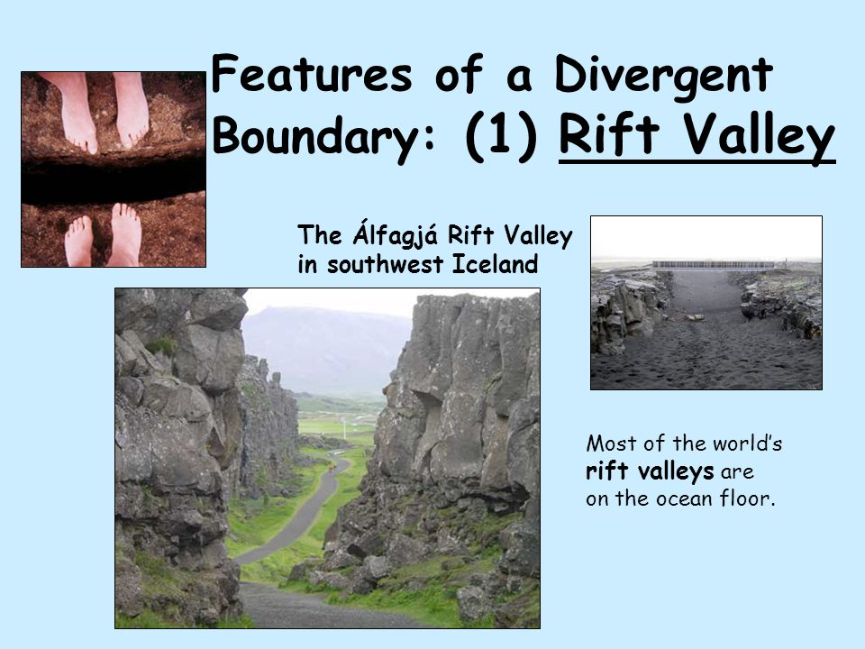 Features of a Divergent Boundary: (1) Rift Valley